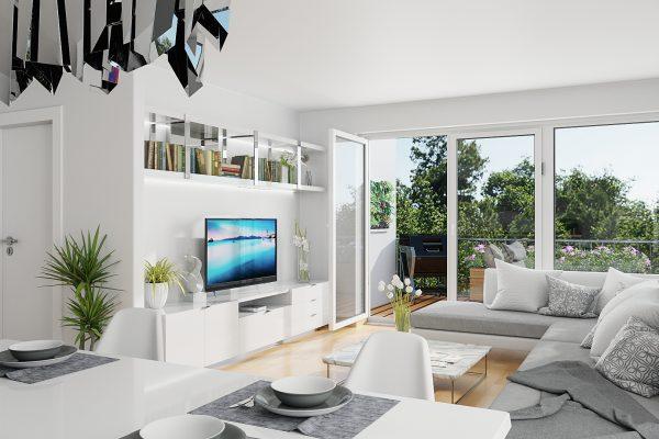 Architekturvisualisierung - Innenraum - Adalbert Kubicek GmbH - Lammaschgasse - Wohnzimmer